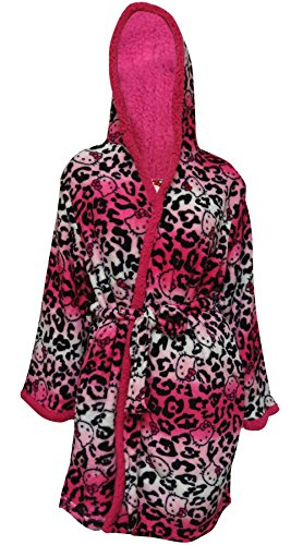 Hello Kitty Shades Of Pink Leopard Plush Robe With Sherpa Hood