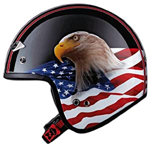 LS2 Helmets OF567 Open Face Motorcycle Helmet with Eagle Graphic (Gloss Black, XX-Large)