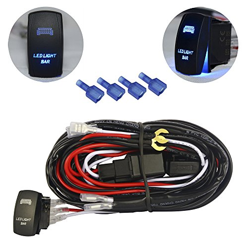 mictuning LED Light Bar Wiring Harness 30 Amp Fuse ON-OFF Laser Rocker Switch Blue(2 Lead 12ft)