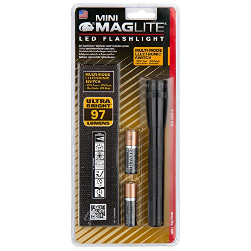 Maglite Mini LED 2-Cell AA Flashlight with Holster, Black (Mini Mag Holster compare prices)
