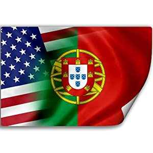 (Decal) with Flag of Portugal and USA (Portuguese): Home & Kitchen