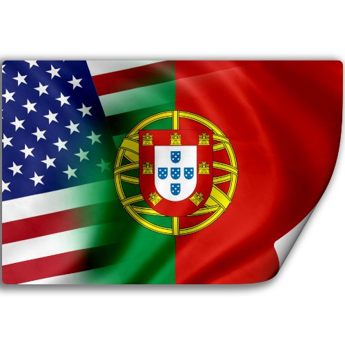 Sticker (Decal) with Flag of Portugal and USA (Portuguese) (Portuguese Flag Decal compare prices)