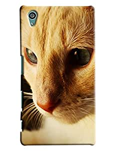 Blue Throat Cat Face Printed Designer Back Cover For Sony Xperia Z5