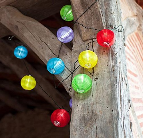 Vktech® 10 Multi Coloured Led Solar Chinese Lantern Fairy Lights Party Garden