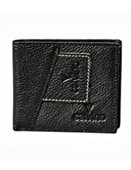 Calvino Rugged Contrast Stitch Black Men Wallet
