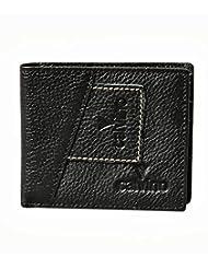 Calvino Rugged Contrast Stitch Black Men Wallet
