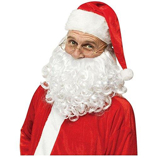 Santa Hat, Beard and Glasses Adult Santa Claus Costume Christmas Fancy Dress (Velvet Elf Suit Costume)