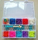 Chinaoutlet Kit pour bracelets en élastiques comprenant 2 000 élastiques dans 10 couleurs magnifiques 75 fermoirs 1 gros crochet 1 métier et une boîte de rangement
