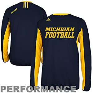 NCAA adidas Michigan Wolverines Sideline Crew Performance Sweatshirt - Navy Blue by adidas
