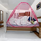 Kawachi Double Bed Size Folding Mosquito Net 78 x 70 x 59 Inches) Pink