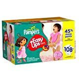 Pampers Easy Ups Trainers for Girls Value Pack, Size 2T-3T, 108 Count