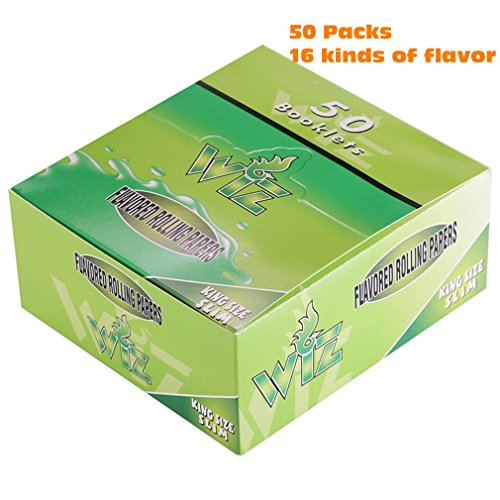 Wiz 50 Packs Cigarette Flavored Rolling Papers Natural Color Variety Juicy Fruit and Honey Flavored for Smoking Herbs Rolling Tobacco(King Size) (Vaporizer 1600 compare prices)