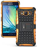 Heartly Flip Kick Stand Spider Hard Dual Rugged Armor Hybrid Bumper Back Case Cover For Samsung Galaxy A5 SM-A500F - Mobile Orange