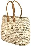 "Moroccan Straw Shoulder Bag w/Brown Leather Handles - 21""Lx20""H - Monaco"
