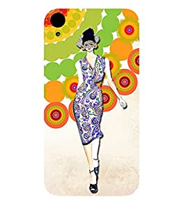 A BEAUTIFUL MODEL DOING CATWALK INFRONT OF A ABSTRACT GEOMMETRIC PATTERN 3D Hard Polycarbonate Designer Back Case Cover for HTC Desire 830::HTC Desire 830 dual sim