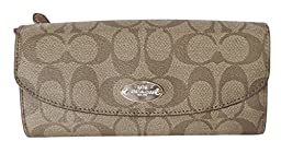 Coach Signature PVC Pop-out Pouch Slim Envelope Light Khaki Pink F52601SIGPK