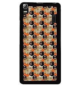 Printvisa Circular Pattern Brown And Orange Back Case Cover for Lenovo A7000