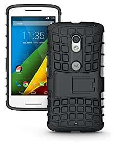 Wellmart Hybrid Defender Military Grade Armor Kick Stand Back Case Cover for Motorola Moto X Play Dual SIM (Black)