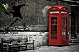 Red telephone booth London England Love is in the air Wall paper Wall decoration by Great Art 82.7 Inch x 55 Inch