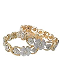 Gold Plated Bangles Glitz Branded Fashion Jewelry Alloy White Gold Plated AD Bangels For Women Design No 1147