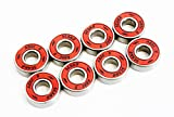 SCSK8 ABEC 9 Bearings Skateboard Deck Longboard Red Silver 1 set of (8)