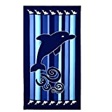 Imymax 100% Microfibre Polyester Unisex Oversized Bath Beach Towel 40 x 70 inch - Dolphin