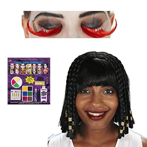 [Cleopatra Adult Wig Eyelashes and Makeup Bundle Set] (Cleopatra Outfit)