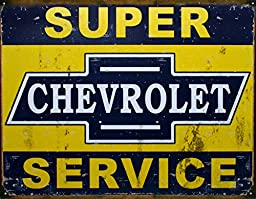 Super Chevy Service Tin Sign 17 x 13in