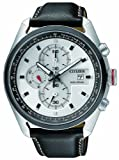 Citizen Eco-Drive Men's Watch with White Dial Chronograph Display and Black Leather Strap CA0361-04A
