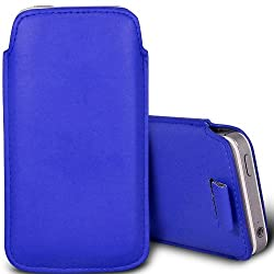 PU Leather Pull Tab Pouch Protective Case for Motorola Moto E - Dark Blue