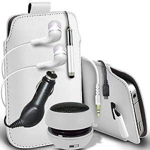 Fone-Case Samsung Galaxy S3 Mini i8190 de protection en cuir PU tirer le cordon En cas de parution Pouch rapide Avec Mini capacitif Stylet rétractable, 3.5mm écouteurs intra-auriculaires, Mini haut-parleur rechargeable Capsule, 12v Micro USB Chargeur Voiture & (3 emballer) LCD Protecteur d'écran protecteur (Blanc)
