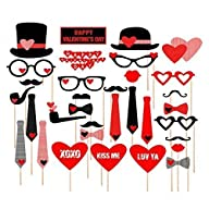 33 pcs Photo Booth Props for Valentin…
