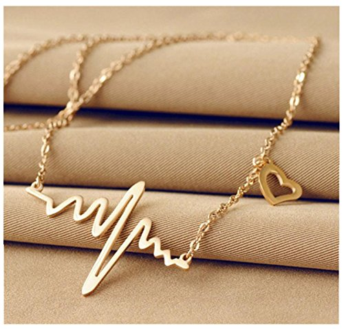 Bestpriceam-New-Women-EKG-Necklace-Heartbeat-Rhythm-with-Love-Heart-Shaped