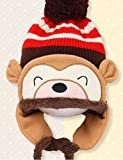 Baby Floral Earflap Hat Knitted Cap Knit Beret Winter Scarf Beanie (Coffie Cartoon Monkey)