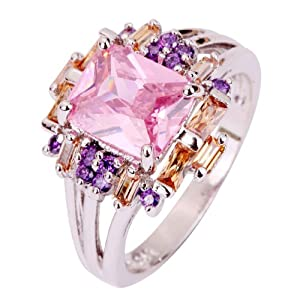 Amybria Jewelry Women's Pink Topaz & Morganite & Amethyst Gems Silver Ring Size T 1/2