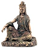 Water and Moon Quan Yin Statue (Kuan Yin) - 5 Inches Tall - Bronze