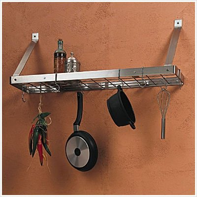 Cheap Bundle-81 Stainless Steel Bookshelf Pot Rack with Optional Additional Pot Rack Hooks (B0069R1Q1A)