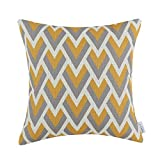 Euphoria Cushion Covers Pillows Shell Cotton Linen Blend Triangle Chain Geometric Chevron Figures Gold 18
