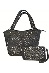Montana West Ridem Cowgirl Purse and Wallet Set Floral Cutouts Black