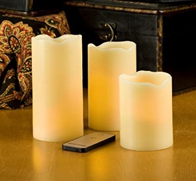 Cheapest Lily's Home® Flameless Ivory Pillar Candles with Remote Control, Set of 3 from Lily's Home - Free Shipping Available