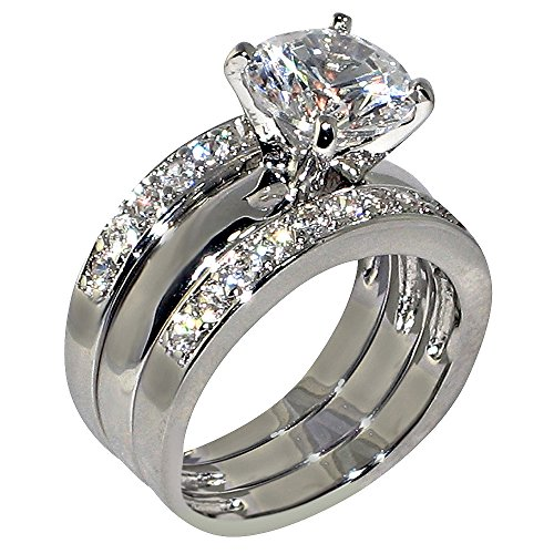3.47 Ct. Round-shape Cubic Zirconia Cz Solitaire Bridal Engagement Wedding 3 Piece Ring Set (Center Stone Is 2.75 Cts) Size 5.5 (Cubic Zirconia Ring Set compare prices)