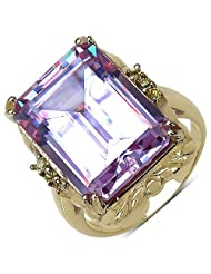 Suraabi 16.80CTW Purple Cubic Zirconia & Yellow Cubic Zirconia 14K Yellow Gold Plated Brass Ring For Women