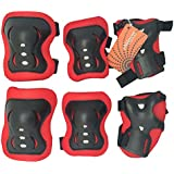 eNilecor Kid's Inline Skating Roller Blading Wrist Elbow Knee Pads Blades Guard Gift for Children's Day, Christmas Pack of 6
