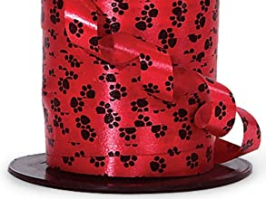 Red with Black Paw Print Curling Ribbon - 716quot X 250 Yd Cut
