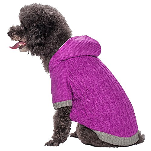 Blueberry Pet 12-Inch Twist Cable Knitted Fleece Hooded Pull Over Sweater For Dogs, Medium, Heliotrope Violet front-938094