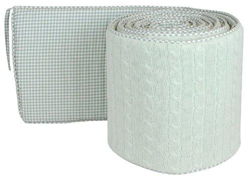 Tadpoles Cotton Cable Knit Crib Bumper, Sage