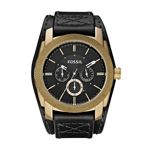 Fossil Men's Vintaged Bronze Chrono Watch De5014 With Black Leather Strap