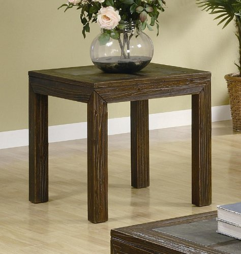 Cheap End Table with Slate Inlays in Distressed Brown Finish (VF_AZ00-76851×37656)