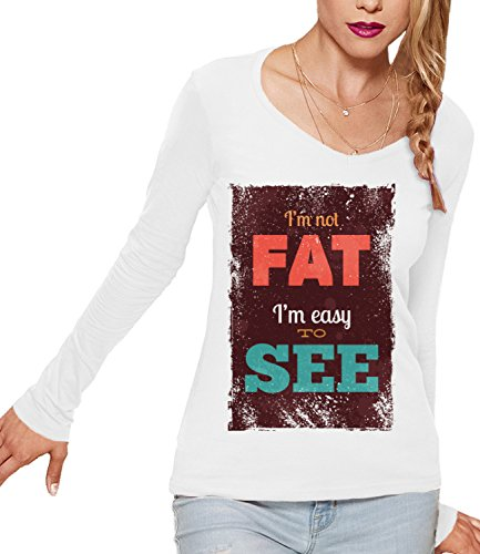 I'm Not Fat I'm Easy To See Women's CLAIRE Long Sleeve T-Shirt Bianco Medium