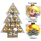 Queens Of Christmas WL-ORN-17PK-TR 17 Piece Christmas Plastic Decoration Ball With Matte Gold Houses And Trees...